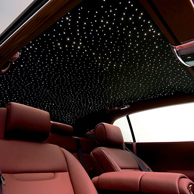 Interior of Rolls-Royce phantom with light features.
