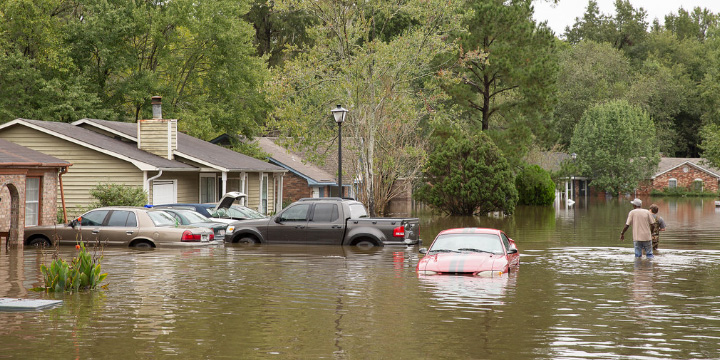 Flooded houses and cars.
