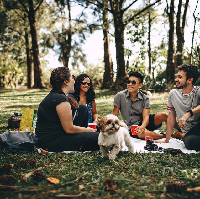 Friends sitting in a park smiling and chatting with a dog in the middle.