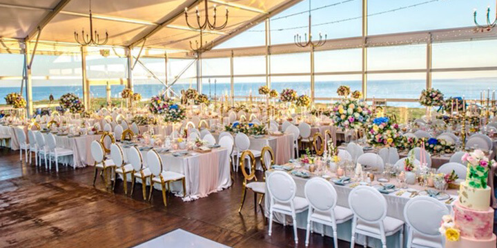 Beautiful wedding setup of venue with sea view