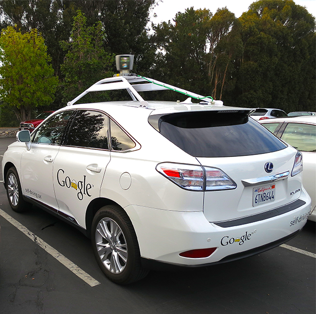 Back and side view of the Google self-driving car.