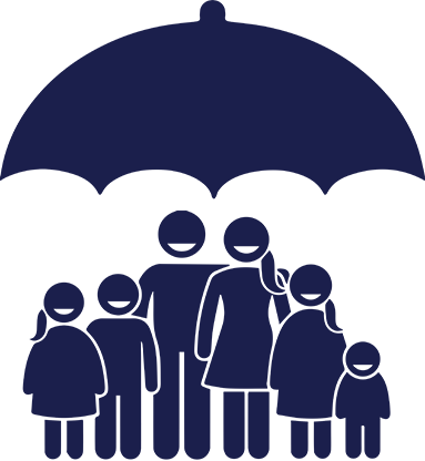 Family standing under umbrella | Product offering | Hippo partner