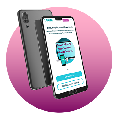 Cellphone displaying the Loom website on screen | LOOM insurance protects mobile phones, laptops, tablets and smart watches | Hippo.co.za partner